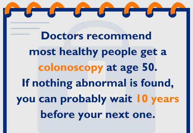 Doctors recommend most healthy people get a colonoscopy at age 50. If nothing abnormal is found, you can probably wait 10 years before your next one.