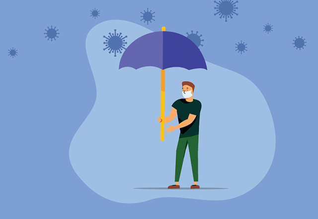 An illustration of a masked man holding an umbrella, protecting himself from virus cells floating above him.