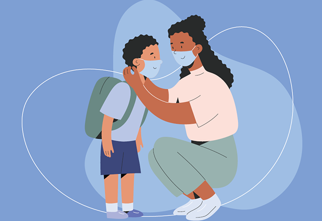 An illustration of an African American woman adjusting her son's face mask.