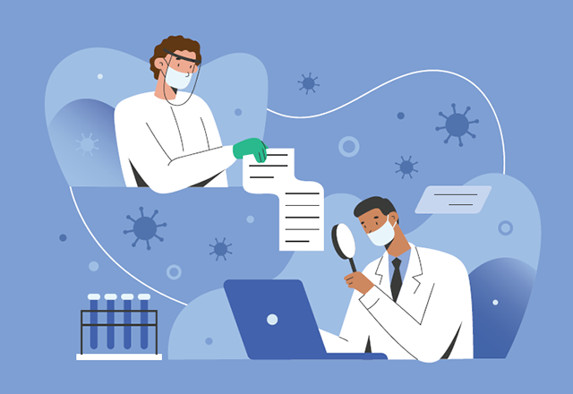 An illustration of two researchers wearing masks, examining data.