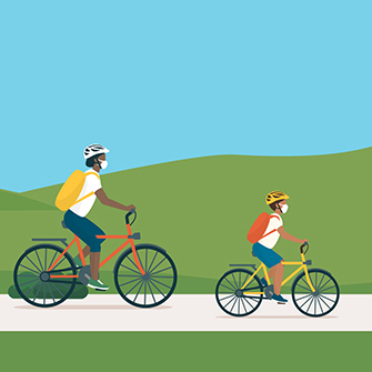 Illustration of two people riding bicycles.