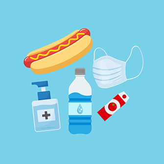 Illustrations of hot dogs, water bottles, masks, and hand sanitizer.
