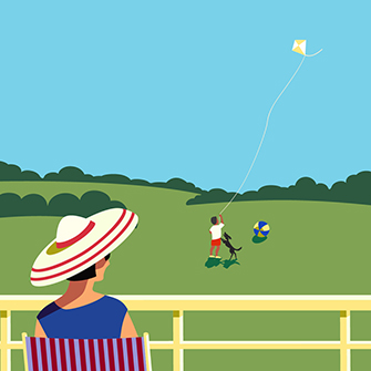 Illustration of a woman watching a child fly a kite from a distance.