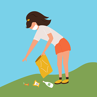 Illustration of a woman wearing a mask and picking up trash outside.