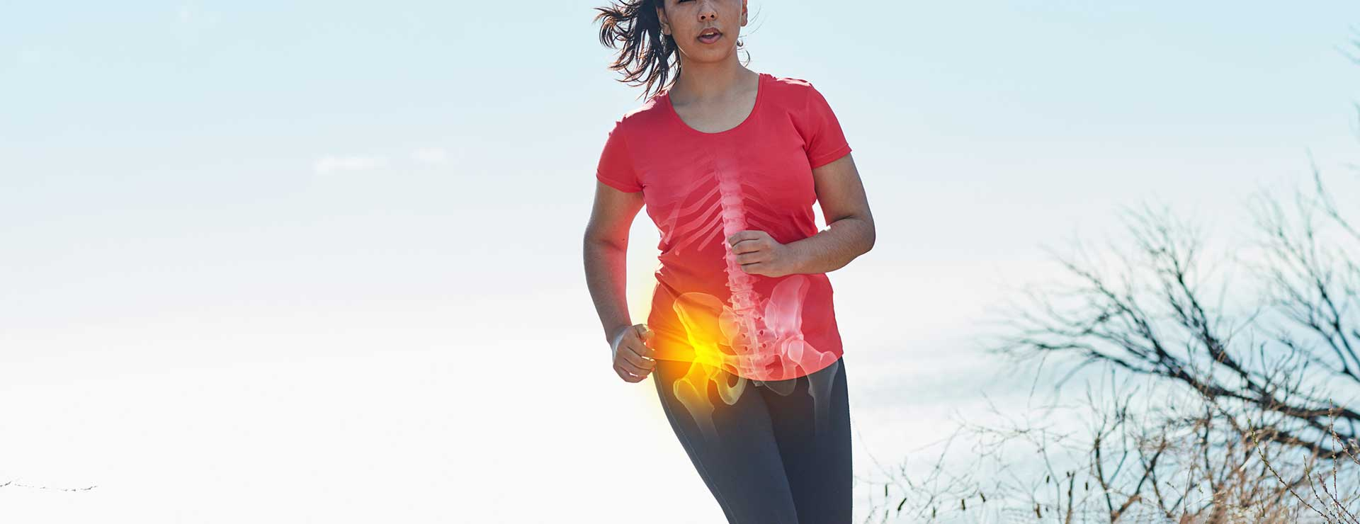 Jogger running outside with x-ray overlay over hip.