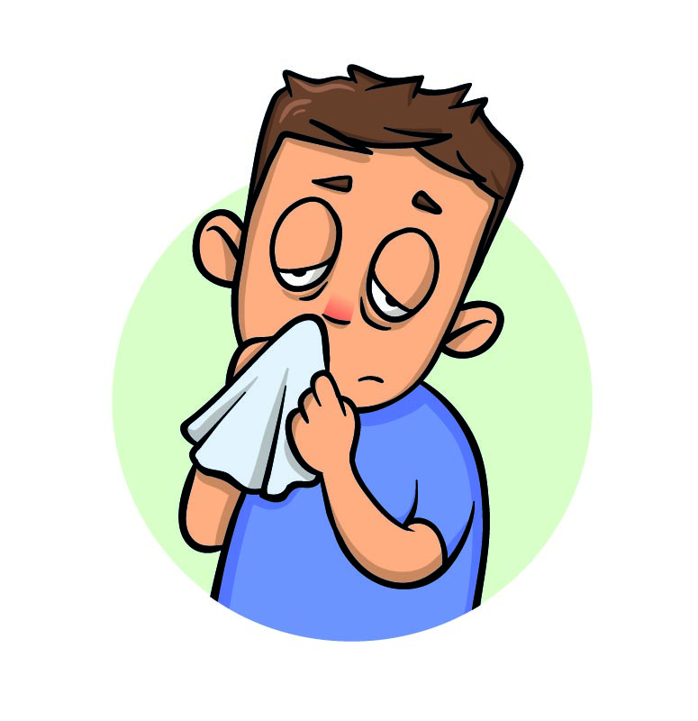 An illustration of a young boy with whooping cough.