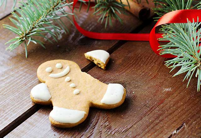 A broken gingerbread cookie among garland.