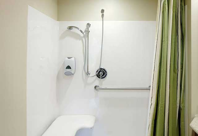 A shower stall outfitted for safety.