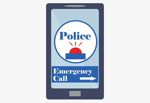 An illustration of an emergency call being placed on a cell phone.