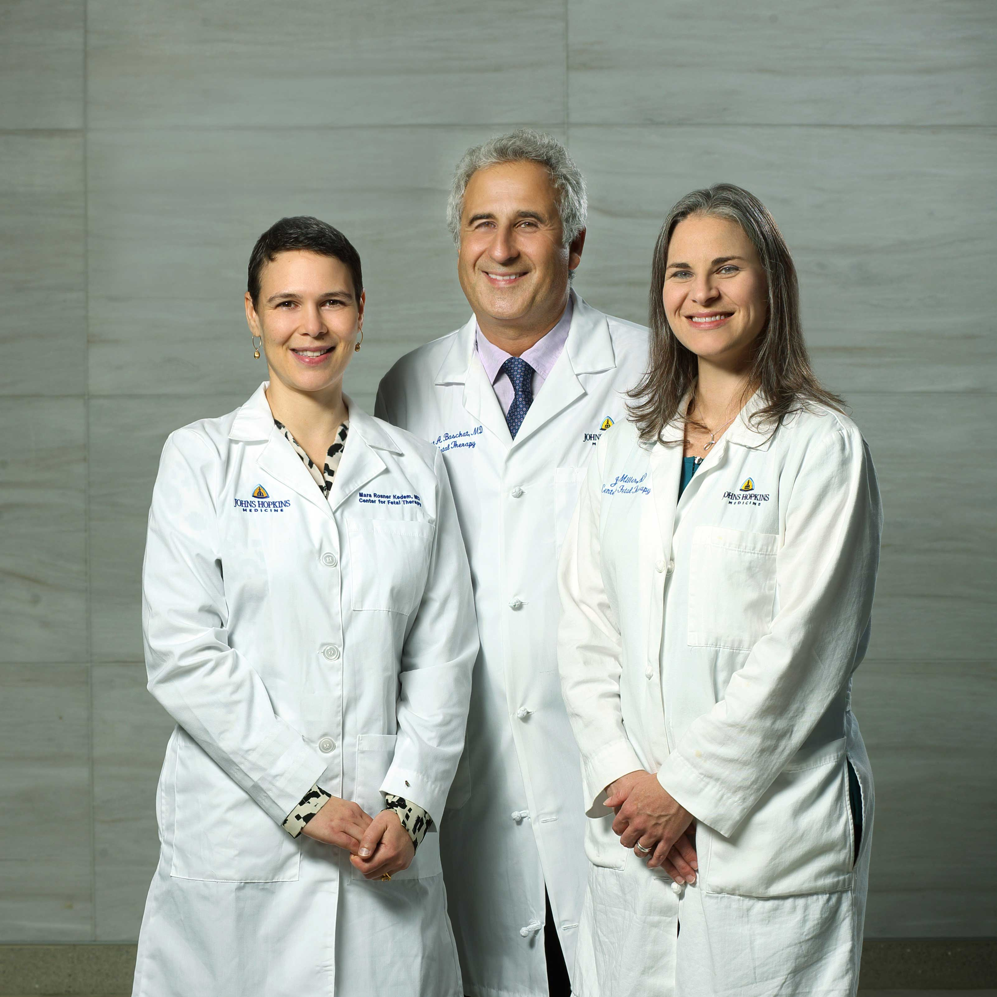 Group photo of Drs Baschat, Miller, and Rosner of the Fetal Therapy team