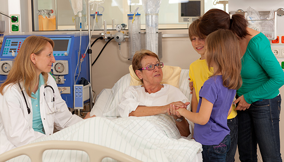 family visiting in hospital