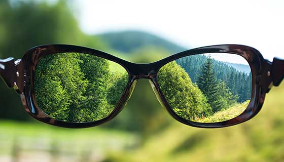 Prescription glasses held against a forest background