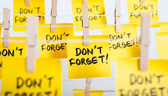 "Yellow sticky notes with ""don't forget"" written on them"