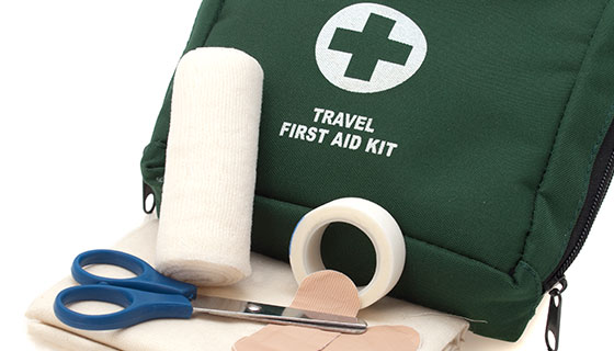 travel first aid bag and supplies