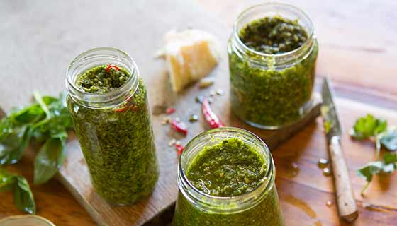Jars of broccoli pesto sauce