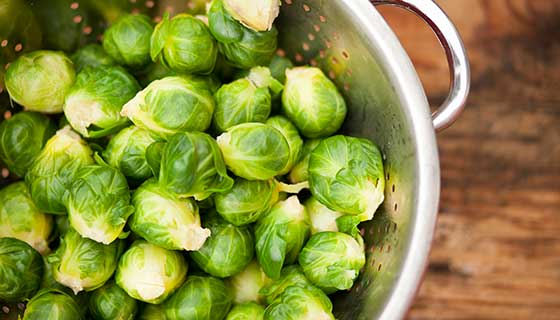 Brussels sprouts in a colander