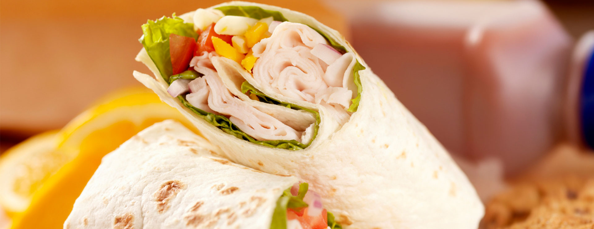 lunch meat with vegetable wraps