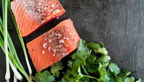 Salmon steak and herbs