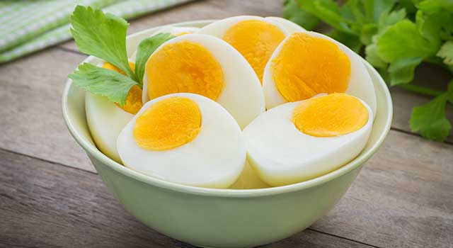 A bowl of hard boiled eggs.