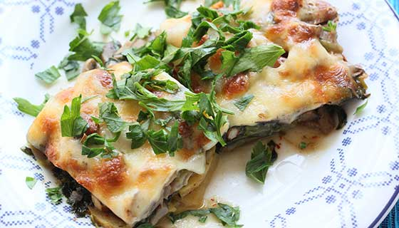 A dish of vegetable lasagna.