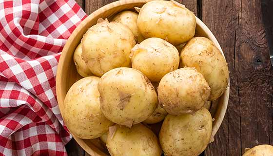 Unpeeled potatoes