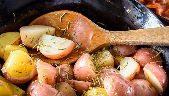 Roasted potatoes in a pan