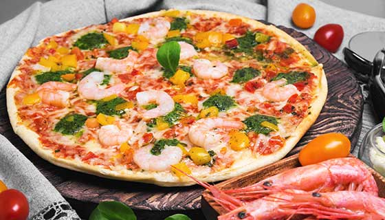 pizza with shrimp topping