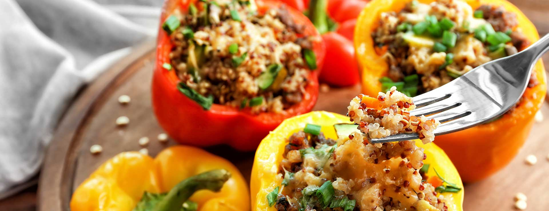 A tray of stuffed peppers.