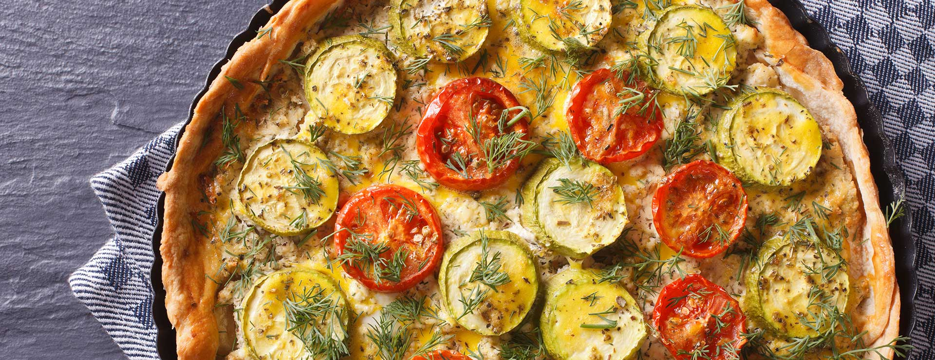 A vegetable tart, fresh from the oven.