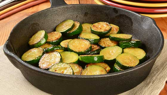 Roasted zucchini in a skillet