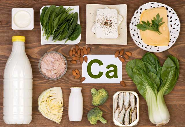 A collection of calcium-rich foods on a table.