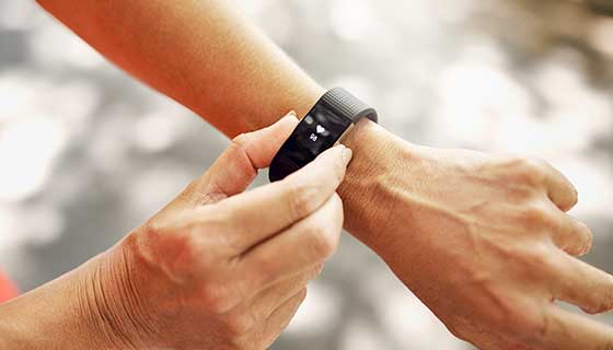 Fitness tracker on a person's hand
