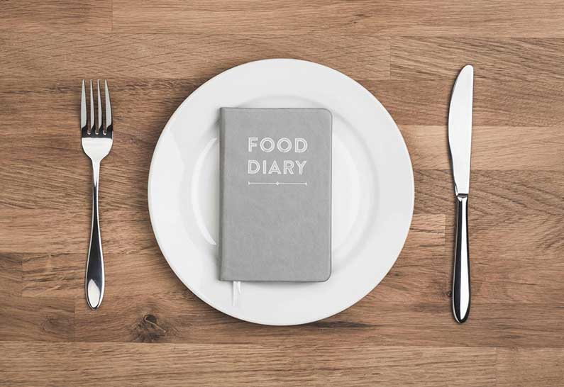 A food diary sits on an empty plate.