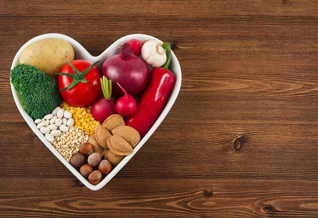Healthy food in a heart-shaped dish.