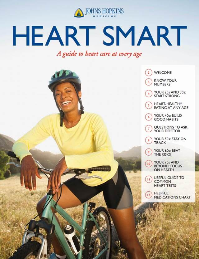 The cover of the downloadable Heart Smart guide, depicting a smiling woman on a bicycle.