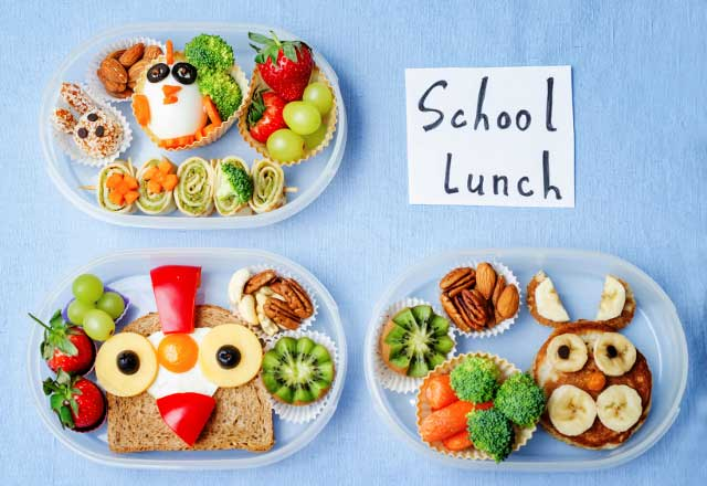 Whimsical school lunch arrangements.