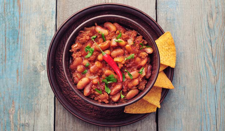 Bowl of bean chili and rice
