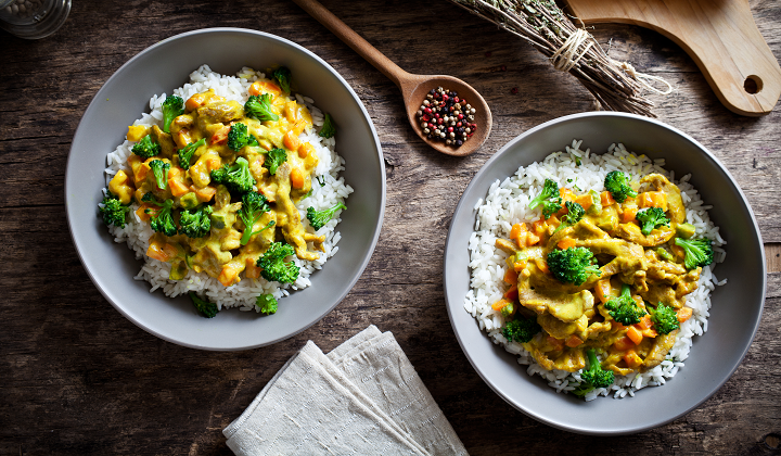 Indian dish with rice and curry