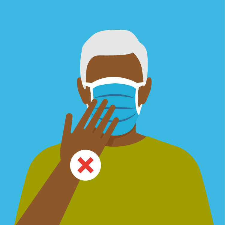 illustration of a man touching his mask when he isn't supposed to