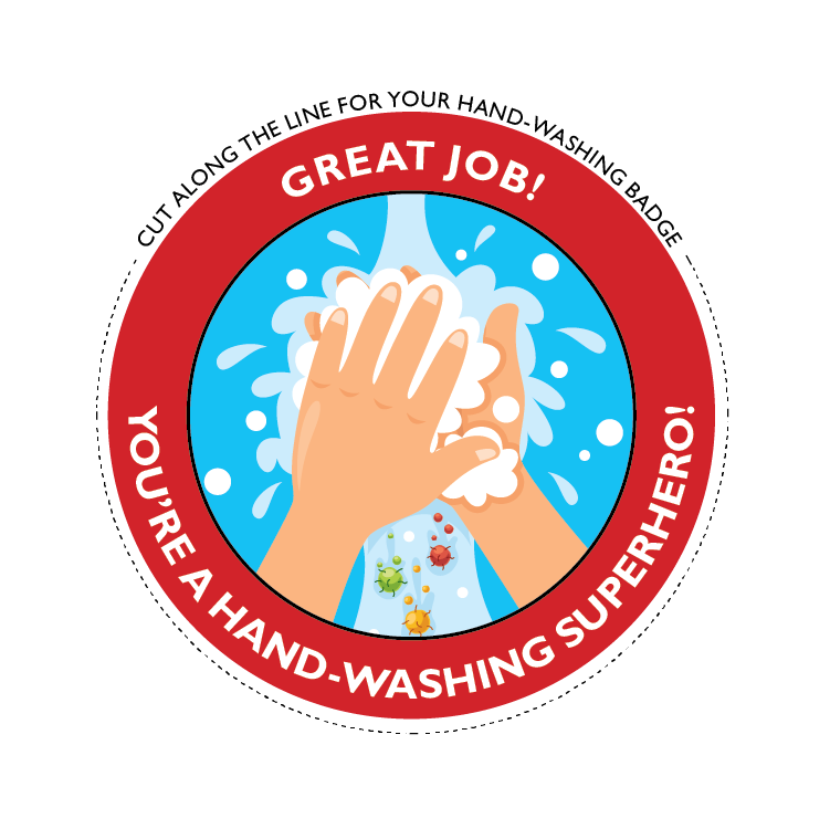 handwashing superhero badge graphic