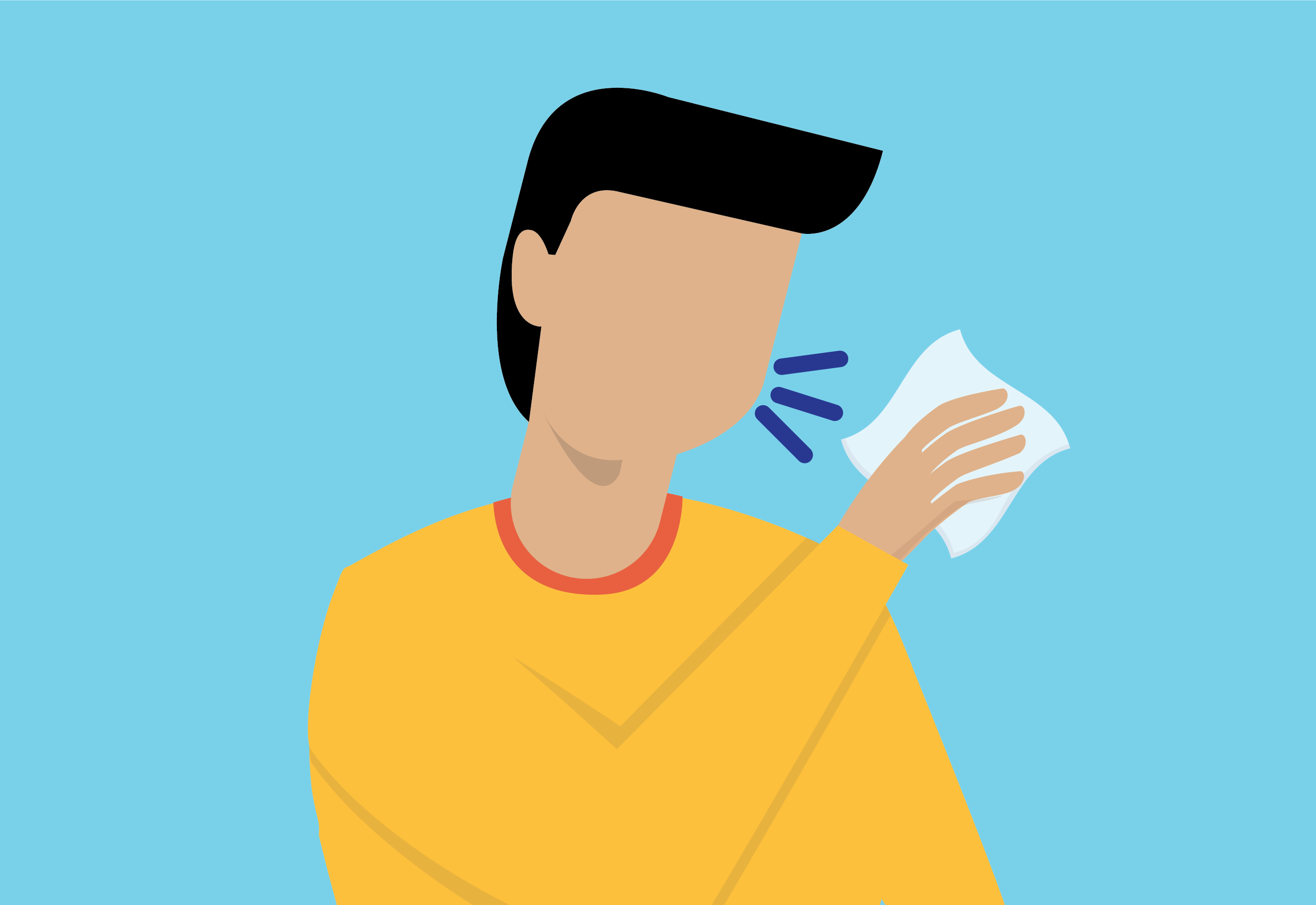 illustration of a man coughing into a tissue
