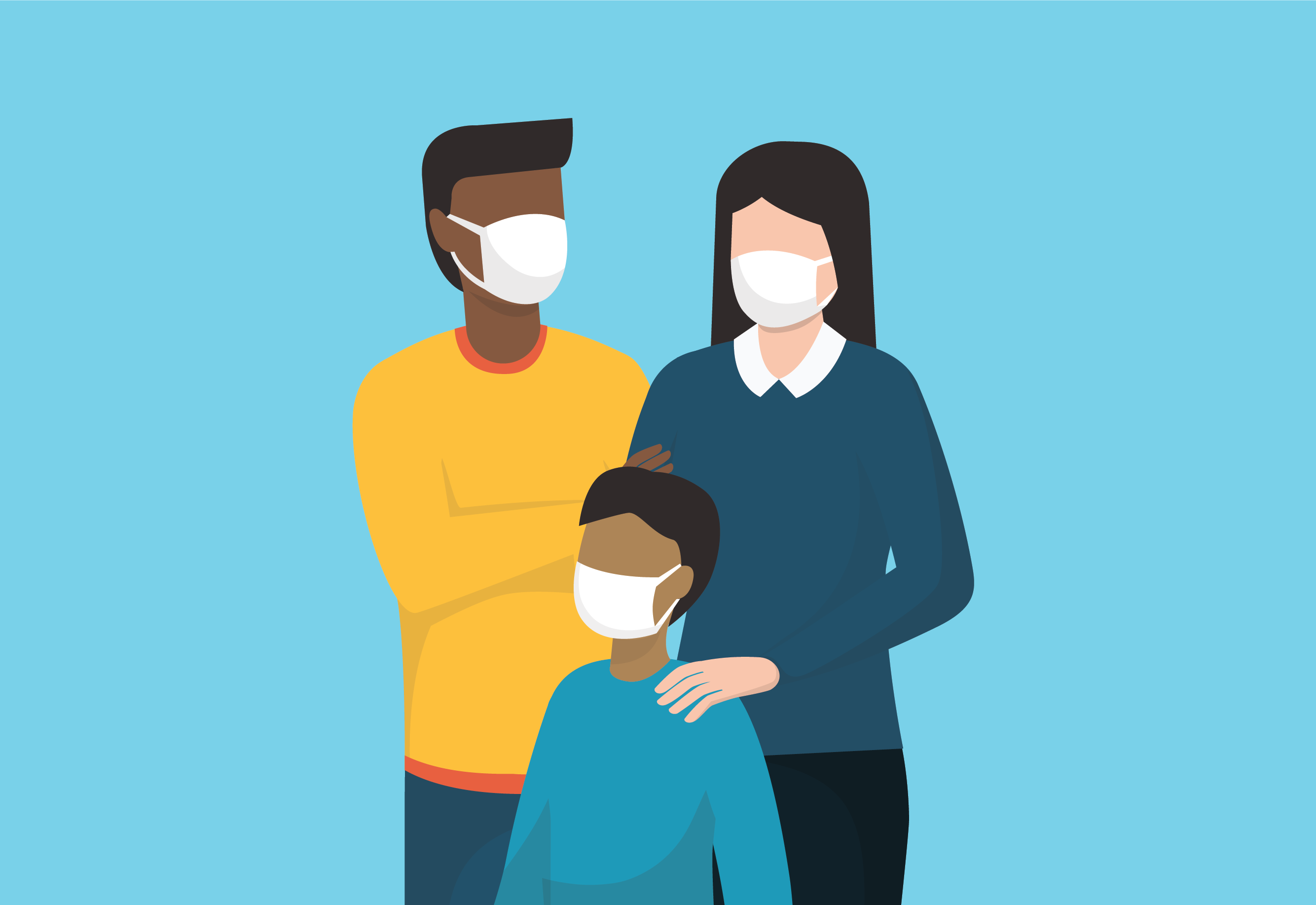 Multiracial family wearing face masks