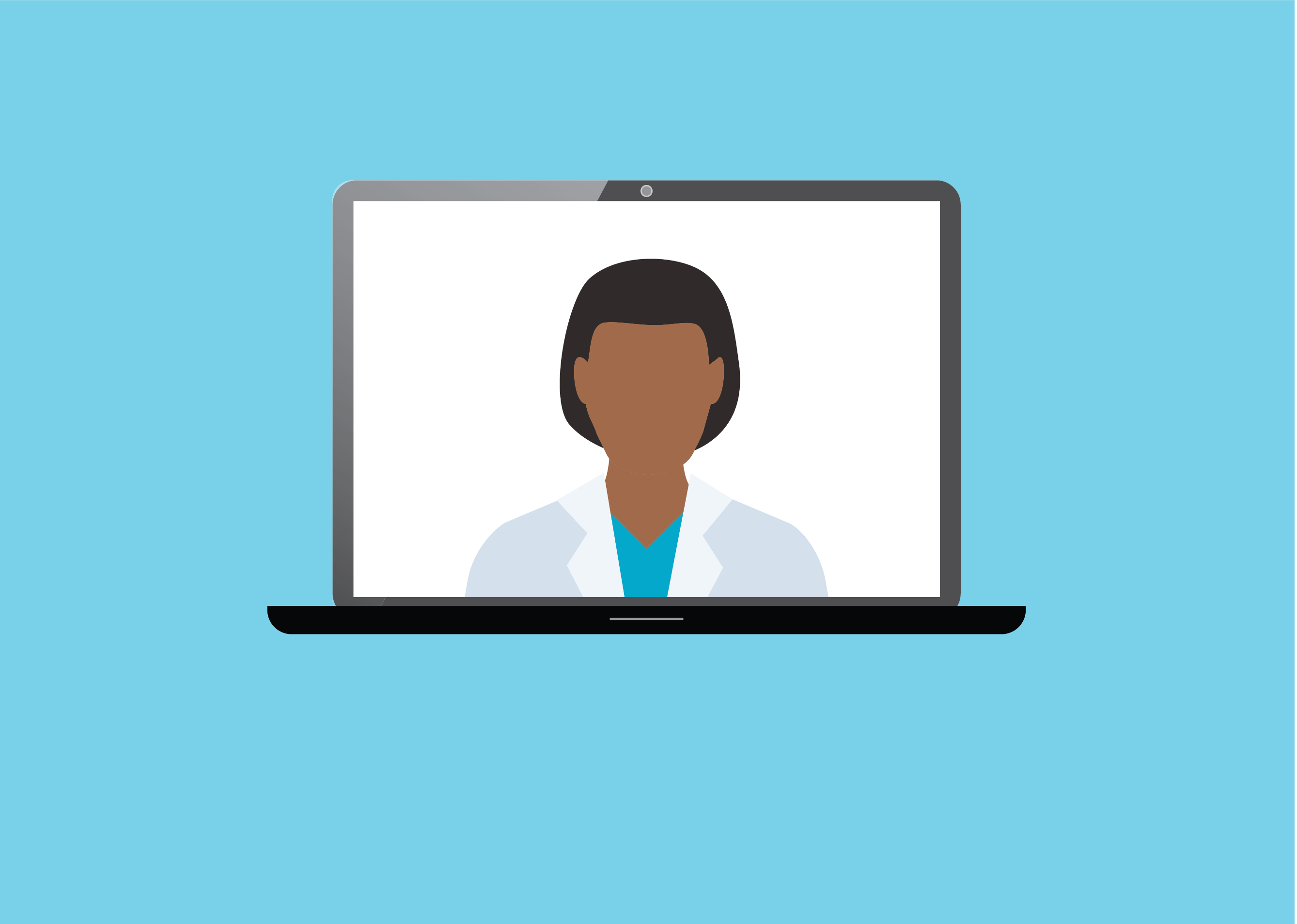 Doctor on computer conducting video visit