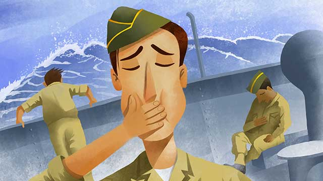 Illustrated sailors feeling ill.