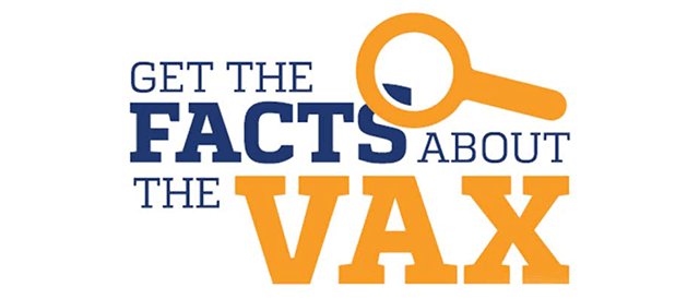 Get the facts about the vax logo with a magnifying glass