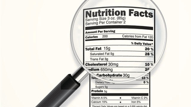 Food label under a magnifying glass