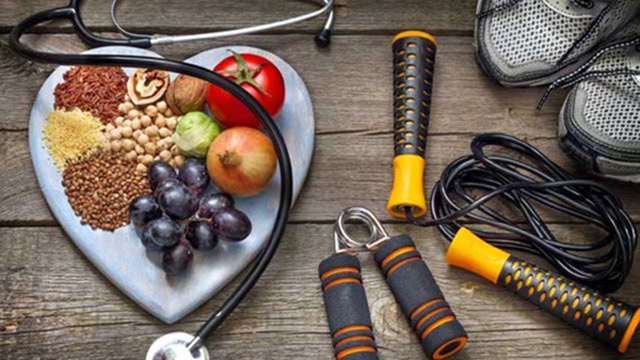 Healthy foods and exercise equipment.