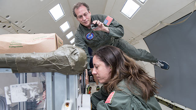 Researchers testing in zero gravity