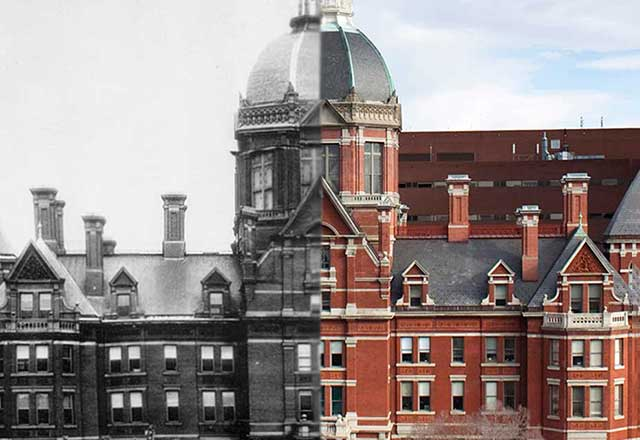 Photo of The Johns Hopkins Hospital from 1889 and present day, side-by-side.