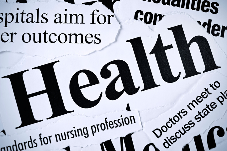 the word health in newspaper font